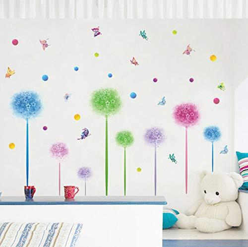 Wiwhy Fantasie Blumen Löwenzahn Punkte Schmetterling Wandaufkleber Für Kinderzimmer Küche Badezimmer Tapete Selbstklebende Folie