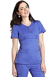Adar Medical Uniforms Pop-stretch Junior Fit Taskwear Empire Henley Top Hospital Doctors Workwear - 3204 - Ceil Blue - L