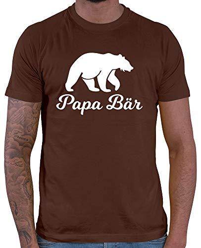 HARIZ  Herren T-Shirt Papa Bär Papa Vater Geburtstag zur Geburt Inkl. Geschenk Karte Braun M