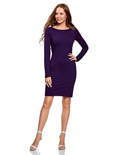 oodji Ultra Damen Enges Jersey-Kleid, Violett, DE 36 / EU 38 / S