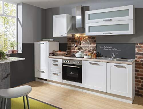 expendio Küchenblock Maxin 280 cm mit E-Geräten komplett weiß Landhausstil Küchenzeile Einbauküche Komplett-Küche