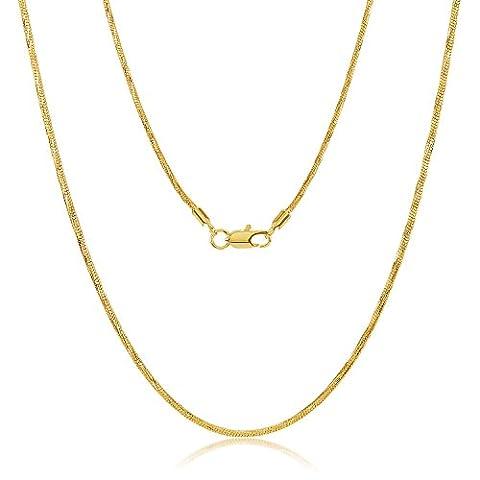 14k Gelbes Gold überzogene dünne 1.5mm Diamant-geschnittene abgerundete Schlange-Verbindungs-Kette