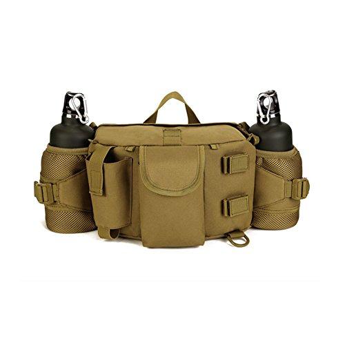 OneTigris Outdoor Multifunktionale Hüfttasche Gürteltasche mit mit 2 Flaschen-Beutel (Khaki)