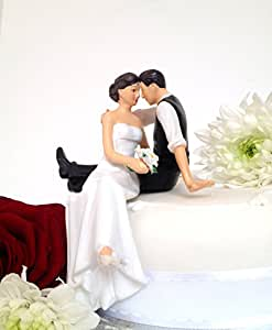 Bride And Groom Sitting On Bench Cake Topper