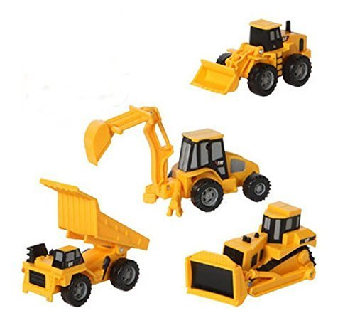 CAT Mini Machine Caterpillar Construction Toy Truck Mini Machine Set of 4, Dump Truck, Bulldozer, Wheel Loader and Excavator Free-Wheeling Vehicle Sand Box Toy Children Cake Toppers Party Favors by Caterpillar