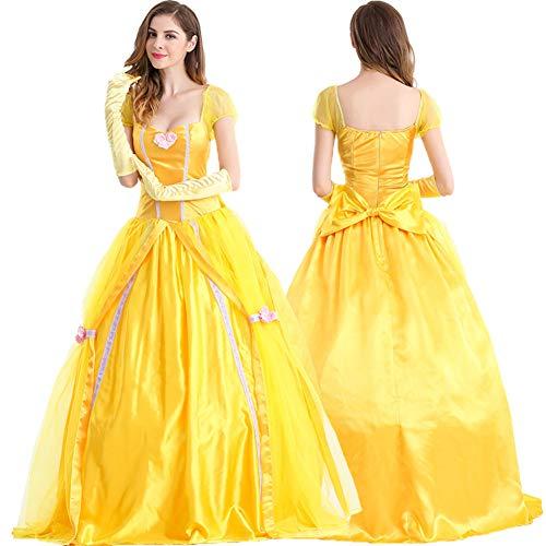 Halloween-Kostüm, Belle-Prinzessin Kleid, Erwachsene Schönheit Und Besen Glocke Weißen Schnee, Kostüm-Ball-Kostüm,L