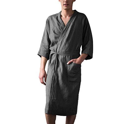 Leinen Pyjama für Herren/Skxinn Männer Nachtwäsche Bademantel Lange Große Größen Kimono Robe Solide Lose Sommer Retro Startseite Kleidung,Herrenkleidung M-4XL Reduziert(Grau,XX-Large)