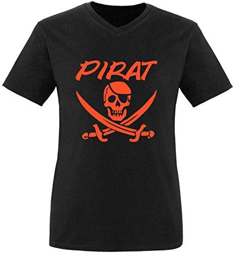 EZYshirt® Pirat Herren V-Neck T-Shirt Schwarz/Orange