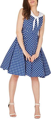 Black Butterfly 'Clio' 50's Polka-Dots Kleid mit besetztem Ausschnitt (Denim, EUR 40 – M) - 5
