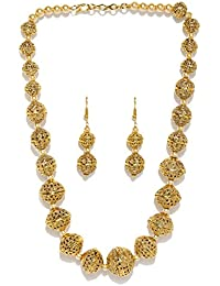 Zaveri Pearls Non Precious Metal Rajwada Style Gold Plated Long Beaded Necklace (Golden) (ZPFK5418) for Women