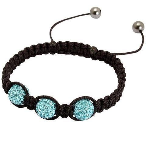 Acosta bleu Aqua en cristal tchèque Bracelet de l'amitié Shamballa avec 3 boules de strass en argile