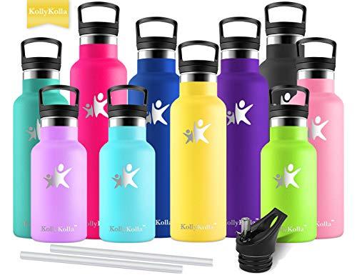KollyKolla Vakuum-Isolierte Edelstahl Trinkflasche, 350ml BPA-frei Wasserflasche mit Filter, Thermosflasche für Kinder, Mädchen, Schule, Kindergarten, Sport, Wandern, Camping, Outdoor, Hellgelb