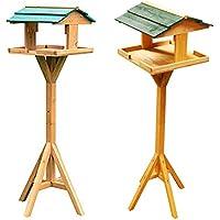 Tradicional de madera para pájaros alimentador. Casa con techo. Madera maciza