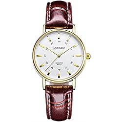 LONGBO Ladies and students quartz watch leather strap