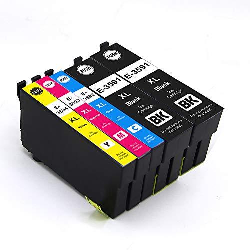 Cartucce con chip compatibili con Epson 35XL, Epson Workforce Pro WF-4720DWF, WF-4725DWF, WF-4730DTWF, WF-4730DWF, WF-4740DTWF, WF-4740DWF 2 Schwarz, 1 Cyan, 1 Magenta, 1 Gelb