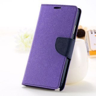 Trifty Wallet Style Flip Cover With In Built Card Holder For Vivo V3 (Purple)