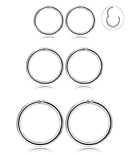 Besteel 3 paia orecchini cerchio in acciaio inossidabile per uomo donna orecchio piercing labbro setto body piercing, 6-10 mm s