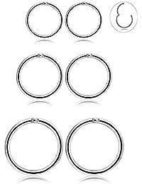BESTEEL 3Paires Boucle d'oreille Piercing Acier Inoxydable pour Homme Femme Anneau Piercing Tragus Cartilage Boucles d'oreilles, 6-10MM