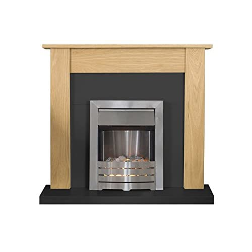 41AsBjcgD%2BL. SS500  - Adam Southwold Fireplace Suite in Oak and Black with Helios Electric Fire in Brushed Steel, 43 Inch