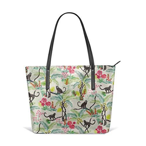 Dama Home Handbags For Women,Tropical Monkeys Satchel Leather Shoulder Bag,Totes Purses Messenger Bags Baby Gap Outfit