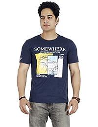 Basilio Men's Graphic Prints Pure Cotton L-Navy T-Shirt