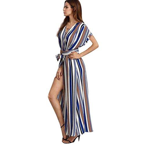 Manadlian-Robes Longue, Robe Ete Femme Robe de Plage Femmes Robes à Manches Courtes Robe Longue à Rayures Bleu