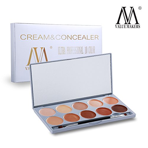 VALUE MAKERS® Professionnel 10 Couleurs Palette Correctrice Set + miroir de maquillage
