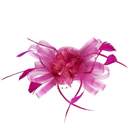 Flapper Hot Kostüm - UJUNAOR 1920s Damen Stirnband mit Feder 20er Jahre Stil Haarband Gatsby Kostüm Accessoires(Hot Pink,One size)