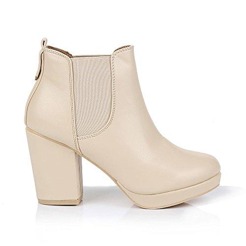 Mesdames Femmes Casual Tirez sur élastique antidérapant Mid talon bloc Chelsea Cheville Bottes Chaussons Chaussures Taille Beige - Plastique PU Beige