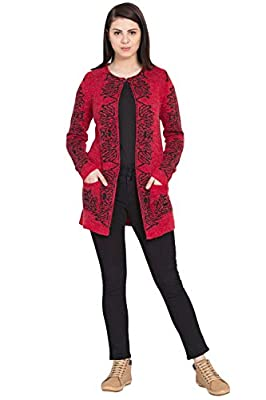 BOXYMOXY Jacquard Designer red and Black Long Cardigan with Hook and Pockets