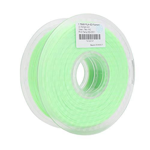 ASHATA Filamento de Impresora 3D PLA, consumibles de Impresora 3D Filamento UV Fotoconversión 3D Suministros de Impresora 1.75mm PLA Filamento de lámpara 3D Verde a Rojo