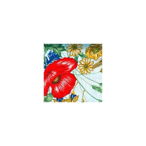 Abdeckung Gartentisch–Vorhang Xtra weiß Baumwolle extra Blumen 250x 150Mohn [Xtra weiß]