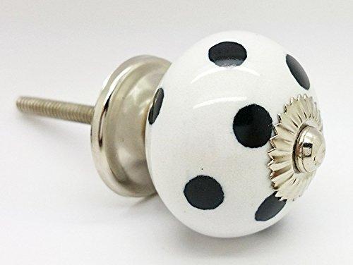 Nero a pois pois rotondo vintage shabby chic cassettiera manopola maniglia in ceramica porta 4503-bk
