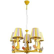 CNMKLM Jirafa amarilla encantadora habitación Niños Focos colgantes Cartoon Animal Araña de la habitación del bebé Chico Chica Habitación lámpara colgante