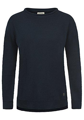 DESIRES Rolli Damen Winter Strickpullover Troyer Grobstrick Pullover, Größe:L, Farbe:Insignia Blue (1991)