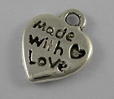 20 Antique Silver Plated Made with Love Heart Charm Pendants 10mm by Curious Cleo : everything 5 pounds (or less!)