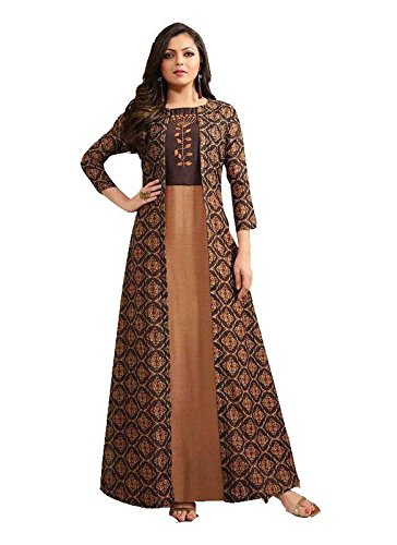 Mira Creation Women's Silk & Manipuri Print Brown Dress Come Kurti (Size : L & XXL)
