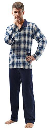 e.VIP® Herren Schlafanzug OSKAR 200, Langarm, lange Hose, reine Baumwolle, in Farben: Marine kariert oder Grau kariert, verschiedene Größen Marine