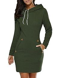 Lannister Fashion Vestiti Donna Elegante Felpa Camicia Vestito Corti con  Cappuccio Pullover Manica Lunga Abito Taglie 4f807073963