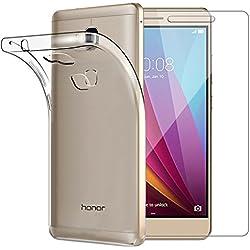 Coque Huawei Honor 5X avec [Verre trempé écran protecteur], Yoowei Transparente Silicone en Gel TPU Etui Huawei Honor 5X Coque de Protection Housse Antichoc Cover Pour Huawei Honor 5X