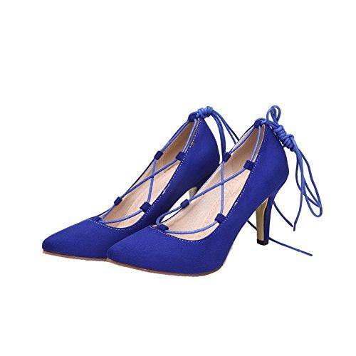 Pointu Lacet VogueZone009 Couleurs Chaussures Mélangées Suédé Légeres Femme Bleu qww1paIrX