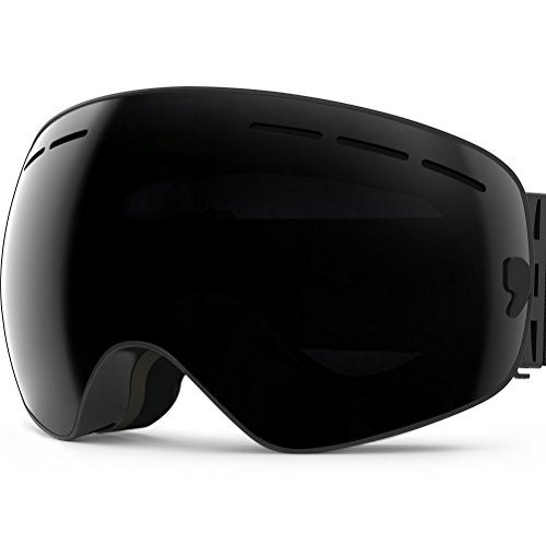 Zionor lagopus x snowboard skate occhiali da sci con staccabile grandangolare lenti con un anti nebbia patinata big sferica professionale unisex (tutto nero)