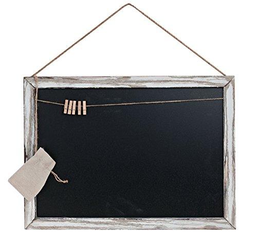 Memotafel Memoboard 55x40cm Tafel Wandtafel aus Holz in weiß gewischt mit Klammern & Kordeln zum Hängen - Landhaus Vintage Shabby Kreide Kreidetafel Küchentafel Wäscheklammer