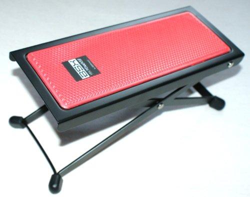 Basix - Pedale per chitarra in metallo con superficie in plastica antiscivolo rossa, semplice regolazione in altezza mediante il reticolo
