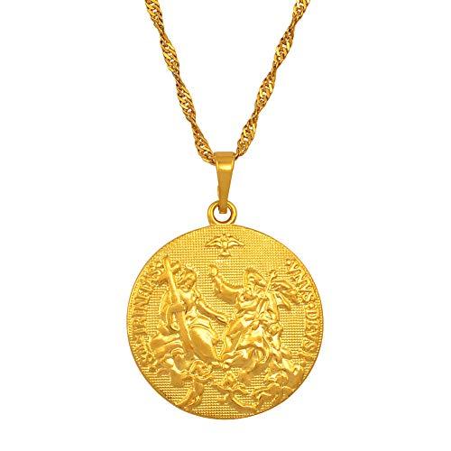 DADATU Halsketten für Herren Heiliger Geist Amor Jesus Halskette Anhänger Gold Farbe Kreuz Halsketten Für Frauen Männer Christentum Religiösen Schmuck - Heiligen Geist Kostüm