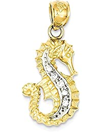 ICE CARATS 14k Yellow Gold Diamond Seahorse Pendant Charm Necklace Sea Life Fine Jewelry Gift Set For Women Heart