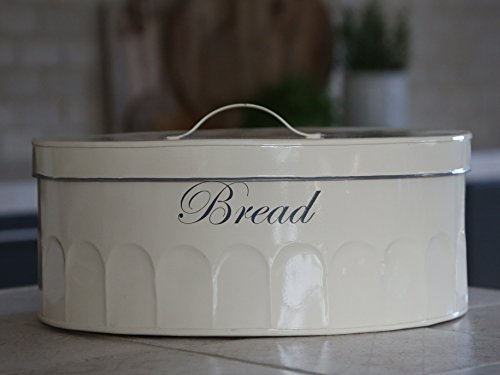 Chic Antique Brotkasten Brotbox oval Vintage Shabby Brocante Nostalgie Emaille