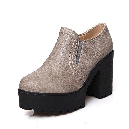 VogueZone009 Femme Rond à Talon Haut Couleur Unie Tire Chaussures Légeres Gris