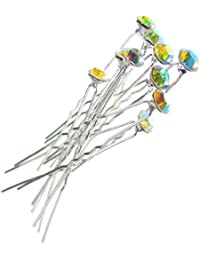 Jewellery of Lords 10 Clear Aurora Borealis AB Czech Crystal Solitaire Wedding Engagement Bridal Bride Prom Hair Bobby Pin