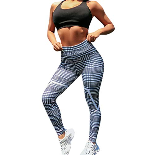 Routinfly 2019 Neue Damen Plaid Print Hüfte Hohe Taille Sieben Punkte Yogahosen,Frauen Laufhosen Sporthose Jogginghose Gymnastikhose Joggen Workout Leggings Fitness Hosen - Plaid-print-bermuda Kurz
